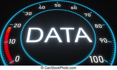 Data futuristic meter or indicator. Conceptual 3D animation...