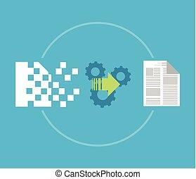 data, herstel, reservekopie, concept., terugzetten