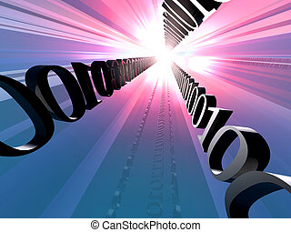 Data Highway - Digital Illustration symbolizing Bits...
