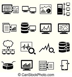 data, iconen, groot, gegevensverwerking, computer, web, wolk