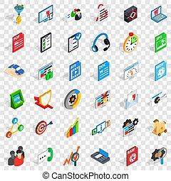 Data icons set, isometric style