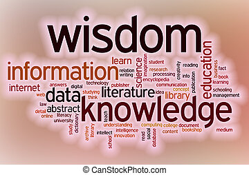 Data information knowledge wisdom word cloud with abstract backg