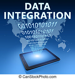 Data Integration illustration with tablet computer on blue...