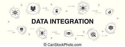 Data integration Infographic 10 steps circle design. database, data scientist, Analytics, Machine Learning icons