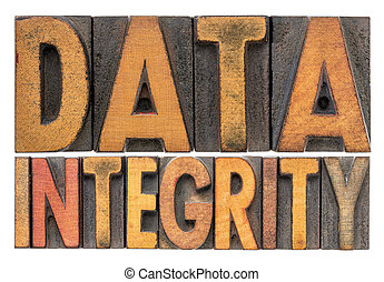 data integrity word abstract in wood type