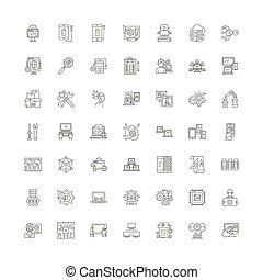 Data linear icons, signs, symbols vector line illustration set