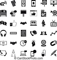 Data link icons set, simple style