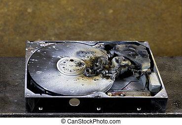 data loss - detail shot of a massive destroyed hard disk...