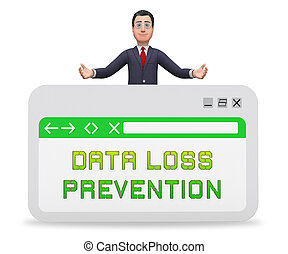Data Loss Prevention Security Shield 3d Rendering