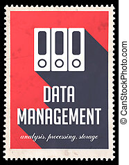 Data Management on Red in Flat Design.