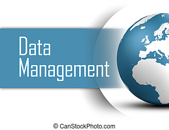 Data Management concept with globe on white background