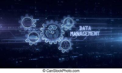 Data management symbol hologram 3d animation. Modern concept...