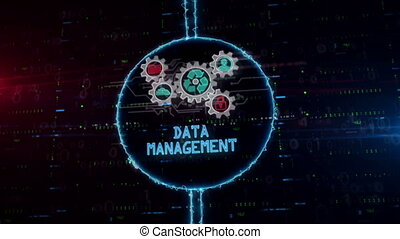 Data management symbol hologram in electric circle - Data...
