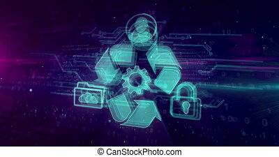 Data managment hologram intro on dynamic futuristic...