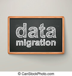 data migration on blackboard in wooden frame isolated over...