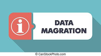 Data Migration on Blue in Flat Design.