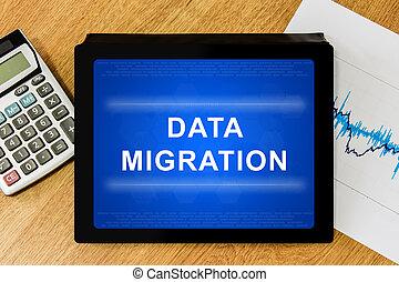 data migration word on digital tablet
