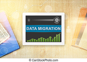 data migration word on tablet