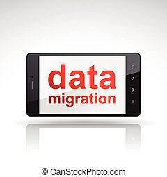 data migration words on mobile phone isolated on white