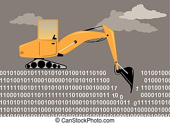 Data mining - An excavator digging through a binary code as ...