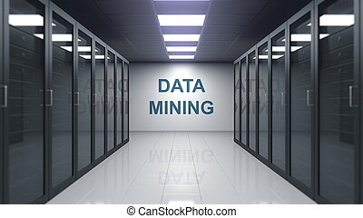 DATA MINING caption on the wall of a server room. 3D rendering