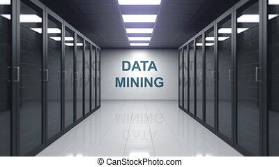 DATA MINING caption on the wall of a server room - DATA...