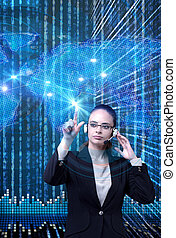 Data mining concept with businesswoman
