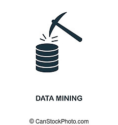 Data Mining icon. Monochrome style design from big data icon collection. UI. Pixel perfect simple pictogram data mining icon. Web design, apps, software, print usage.