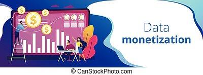 Data monetization concept banner header.