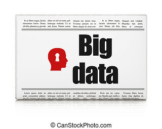 Data news concept: newspaper headline Big Data and Head With Keyhole icon on White background, 3d render