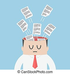 Data paper flying out from businessman head, information...