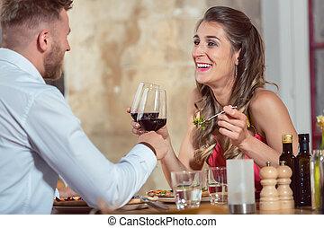 data, par, desfrutando, jovem