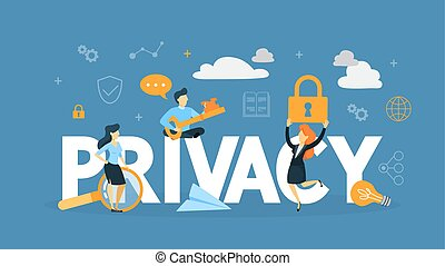 Data privacy concept. Idea of safety and protection while using internet for communication or anything else. Flat vector illustration