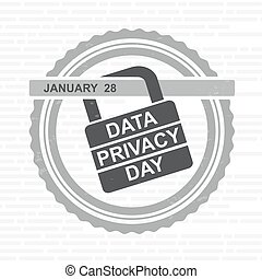 Data Privacy Day. Vector illustration with lock sign. Unofficial Holidays.