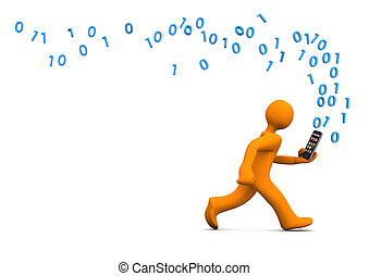 Data Privacy Smartphone - Orange cartoon character runs with...