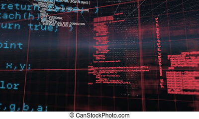Digital animation of Data processing over grid lines against black background. Digital online security computer concept