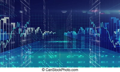 Digital animation of financial data processing and spot of light blinking against blue background. Global economy and finances concept
