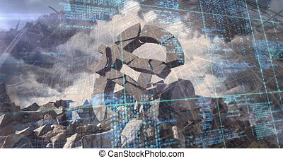 Animation of financial data processing over cracked Euro currency symbol and clouded sky. Global finance business economy concept digitally generated image.