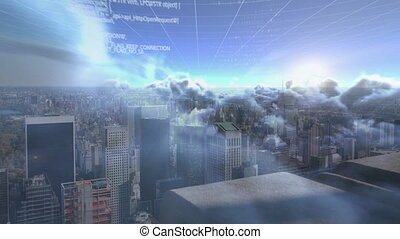 Digital composite video of Data processing over clouds in the sky against aerial view of cityscape. Global networking and business concept