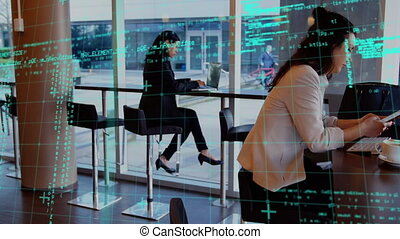Animation of digital interface with grid and data processing over women using smartphone in cafe. Global computer network technology concept digitally generated image.