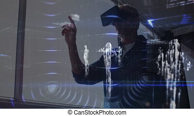 Animation of data processing and young man in VR headset touching virtual interactive screen in the background