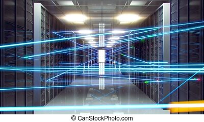 Data processing center. Digital information is transmitted over fiber optic cables over a network. Room with storage, server stations.