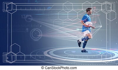 Data processing of male rugby player running