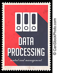 Data Processing on Red in Flat Design.