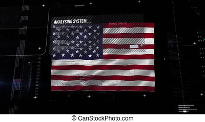 Data processing over U.S. flag waving against black background
