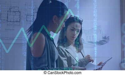 Data processing with a green graph moving against two female architects discussing