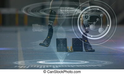 Data processing with disabled athlete with prosthetic legs...
