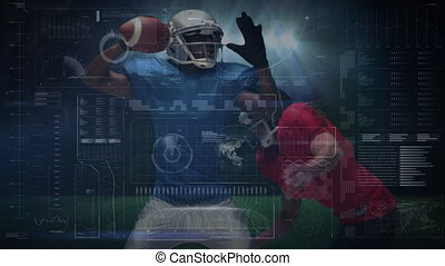 Animation of data processing, scope scanning and analytics with an American football player tackling another player on a floodlit football field in the background