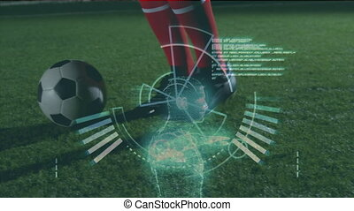 Data processing with soccer player playing - Animation of...