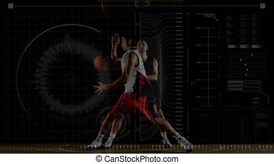Data processing with two men playing basketball